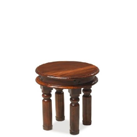 Jali Sheesham Wood Small Round Thacket Coffee Table